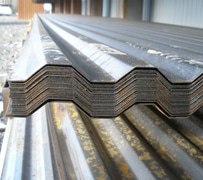 Metal roofing materials in warehouse