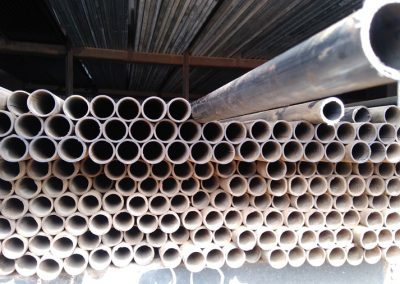 Metal piping in a warehouse