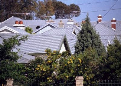 Metal roofing on multiple homes in a rural area