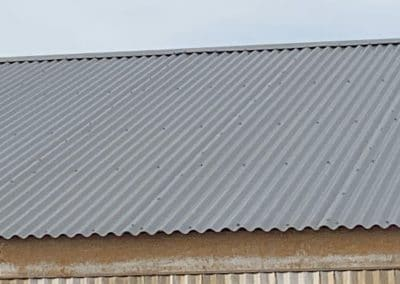 Metal roofing on a business